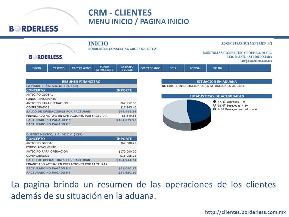 CRM - CLIENTES MENU INICIO / PAGINA INICIO. La pagina brinda un resumen de las operaciones de los clientes además de su situación en la aduana.