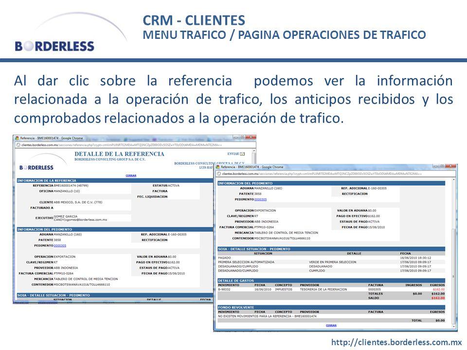 CRM - CLIENTES MENU TRAFICO / PAGINA OPERACIONES DE TRAFICO.