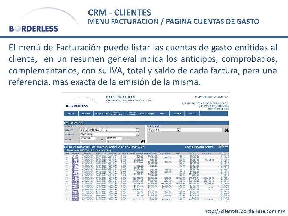 CRM - CLIENTES MENU FACTURACION / PAGINA CUENTAS DE GASTO.