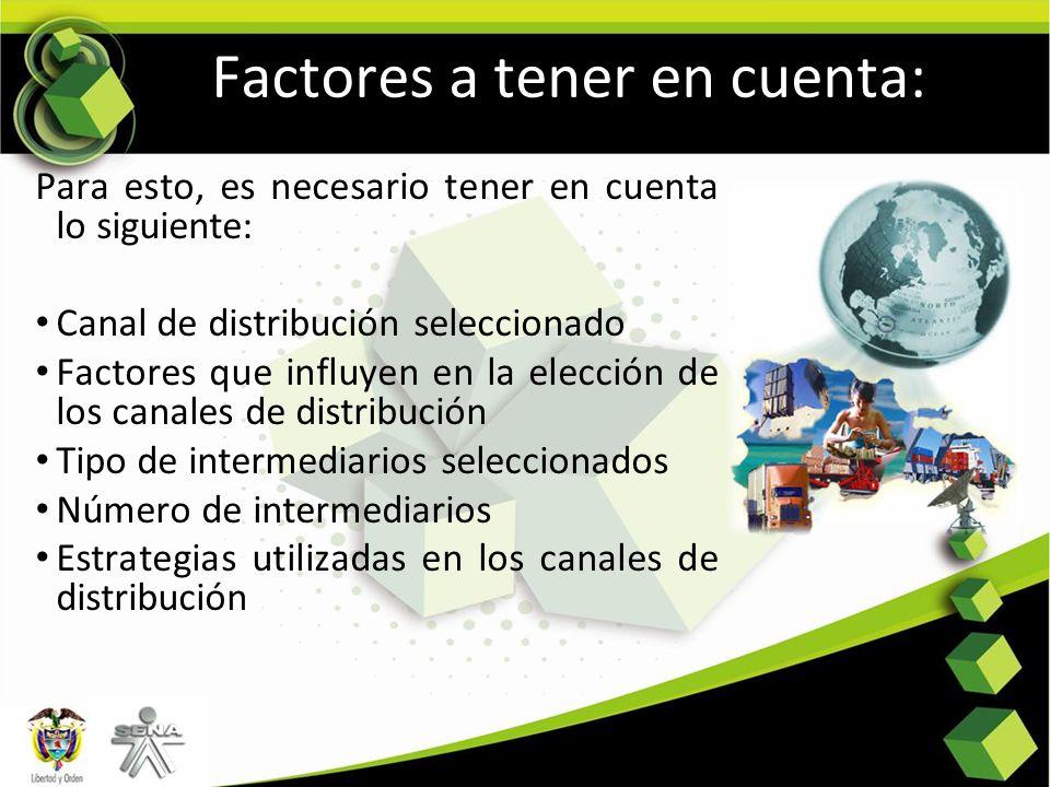 Factores a tener en cuenta: