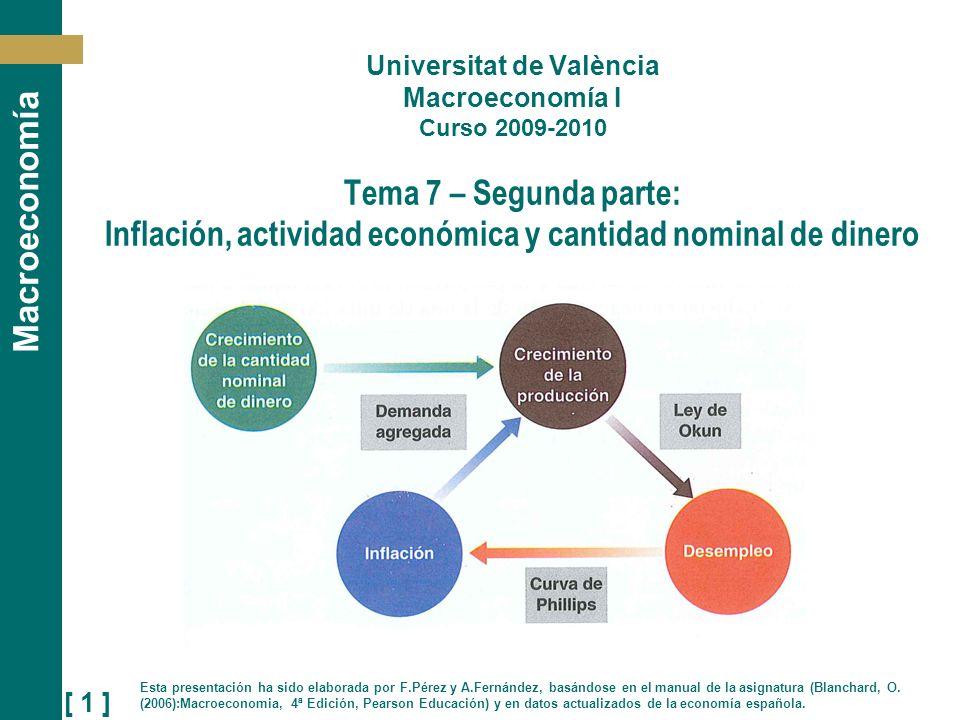 Universitat de València Macroeconomía I Curso 2009-2010 Tema 7 – Segunda parte: Inflación, actividad económica y cantidad nominal de dinero