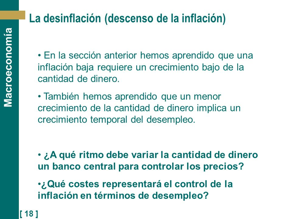La desinflación (descenso de la inflación)