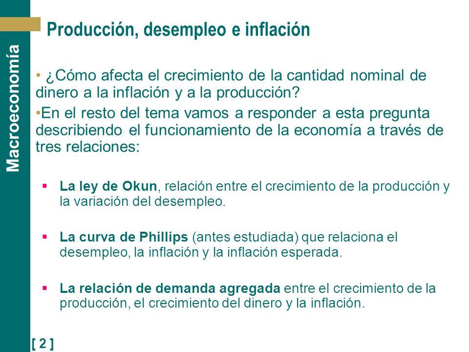 Producción, desempleo e inflación