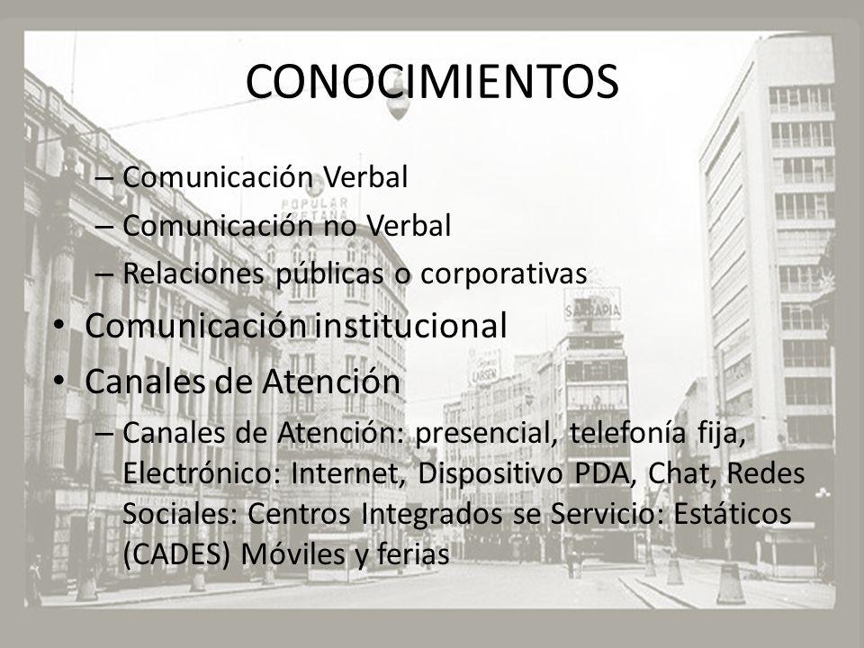 CONOCIMIENTOS Comunicación institucional Canales de Atención