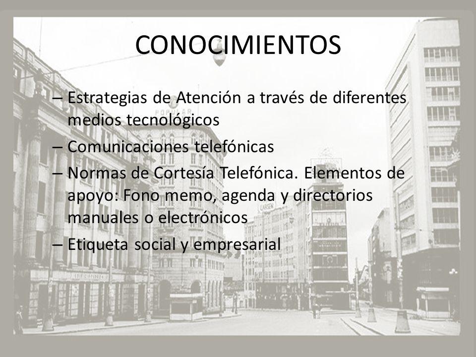 CONOCIMIENTOS Estrategias de Atención a través de diferentes medios tecnológicos. Comunicaciones telefónicas.