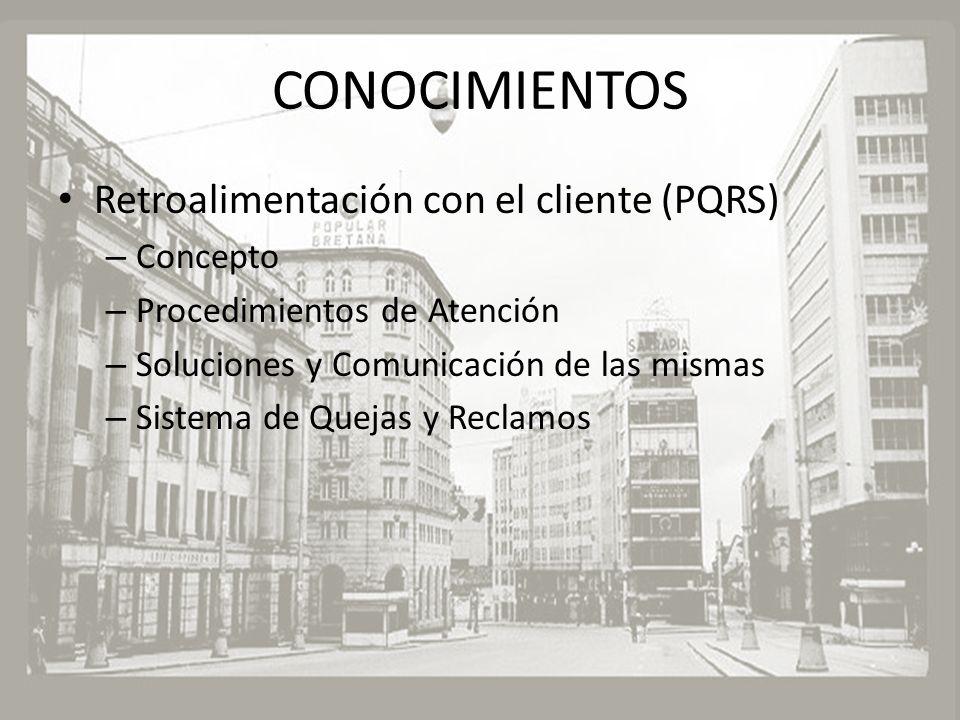 CONOCIMIENTOS Retroalimentación con el cliente (PQRS) Concepto