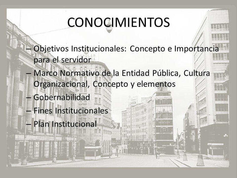 CONOCIMIENTOS Objetivos Institucionales: Concepto e Importancia para el servidor.