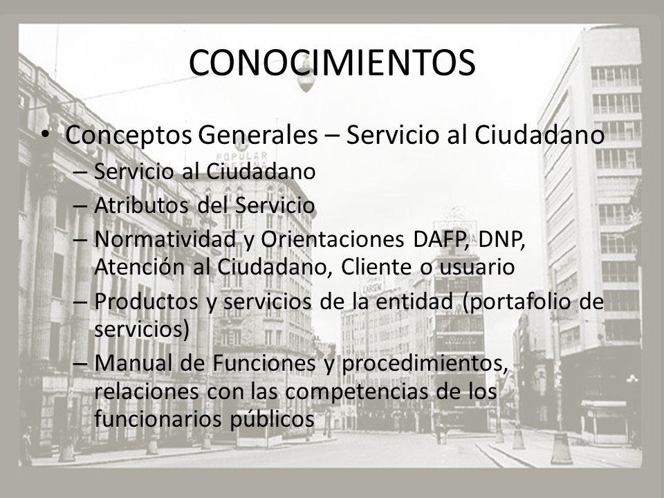 CONOCIMIENTOS Conceptos Generales – Servicio al Ciudadano