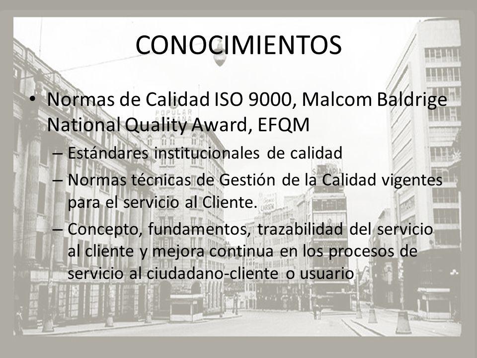 CONOCIMIENTOS Normas de Calidad ISO 9000, Malcom Baldrige National Quality Award, EFQM. Estándares institucionales de calidad.