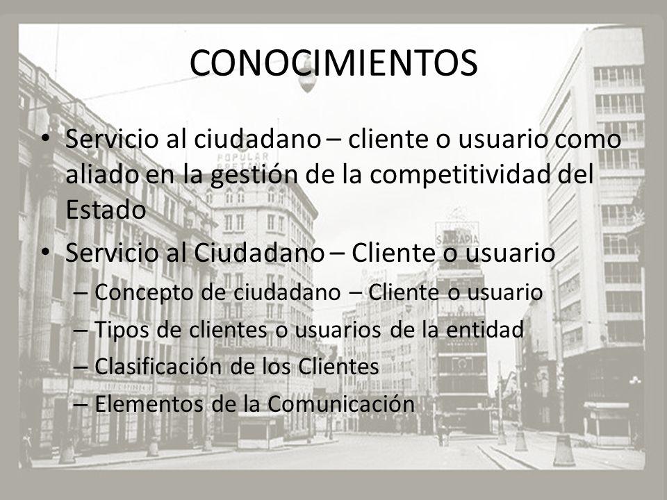 CONOCIMIENTOS Servicio al ciudadano – cliente o usuario como aliado en la gestión de la competitividad del Estado.