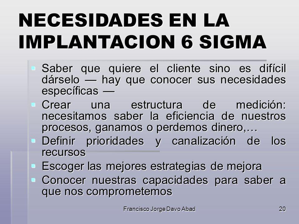 NECESIDADES EN LA IMPLANTACION 6 SIGMA
