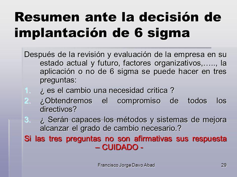 Resumen ante la decisión de implantación de 6 sigma