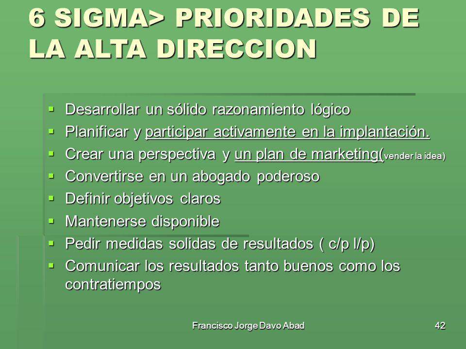 6 SIGMA> PRIORIDADES DE LA ALTA DIRECCION