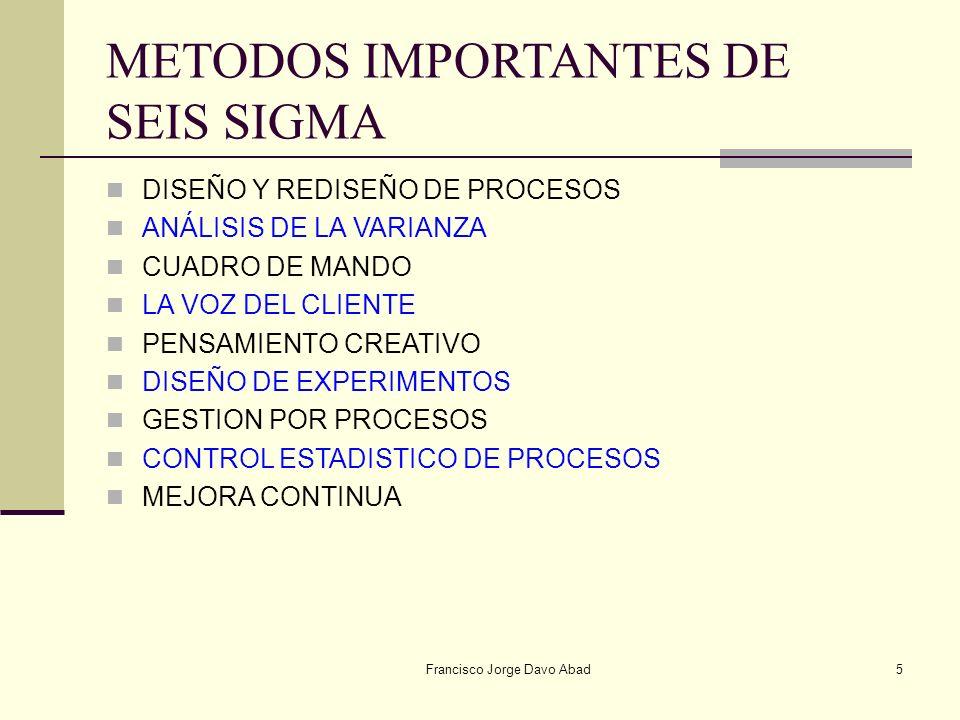METODOS IMPORTANTES DE SEIS SIGMA