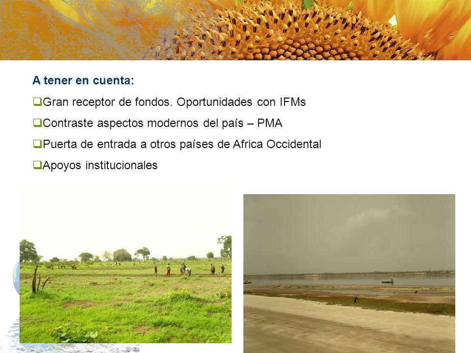 A tener en cuenta: Gran receptor de fondos. Oportunidades con IFMs. Contraste aspectos modernos del país – PMA.