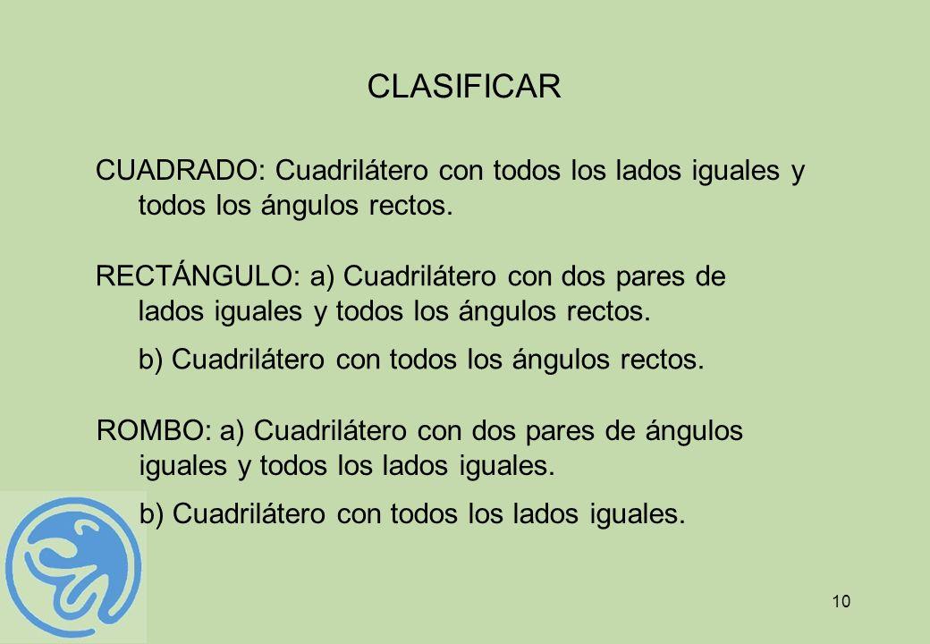 CLASIFICARCUADRADO: Cuadrilátero con todos los lados iguales y todos los ángulos rectos.