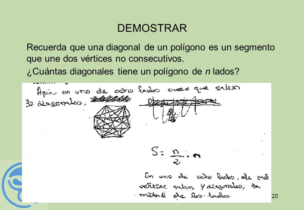 DEMOSTRARRecuerda que una diagonal de un polígono es un segmento que une dos vértices no consecutivos.