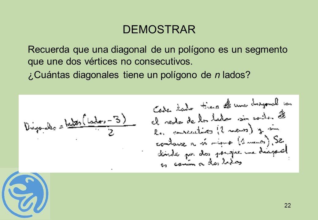 DEMOSTRAR Recuerda que una diagonal de un polígono es un segmento que une dos vértices no consecutivos.