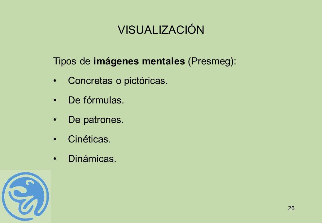 VISUALIZACIÓN Tipos de imágenes mentales (Presmeg):