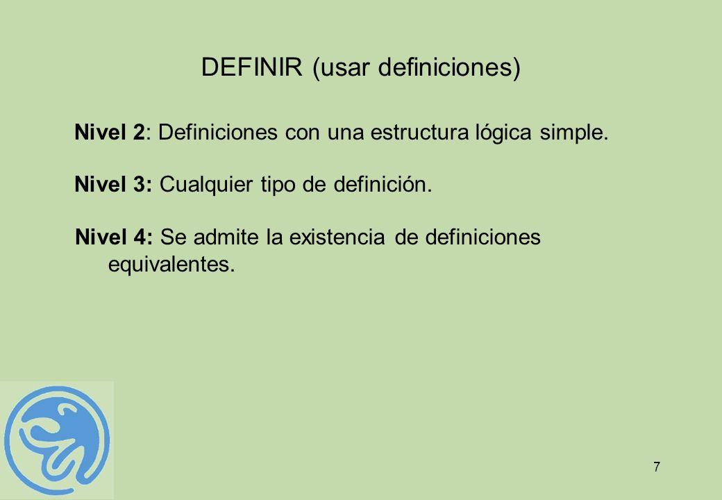 DEFINIR (usar definiciones)