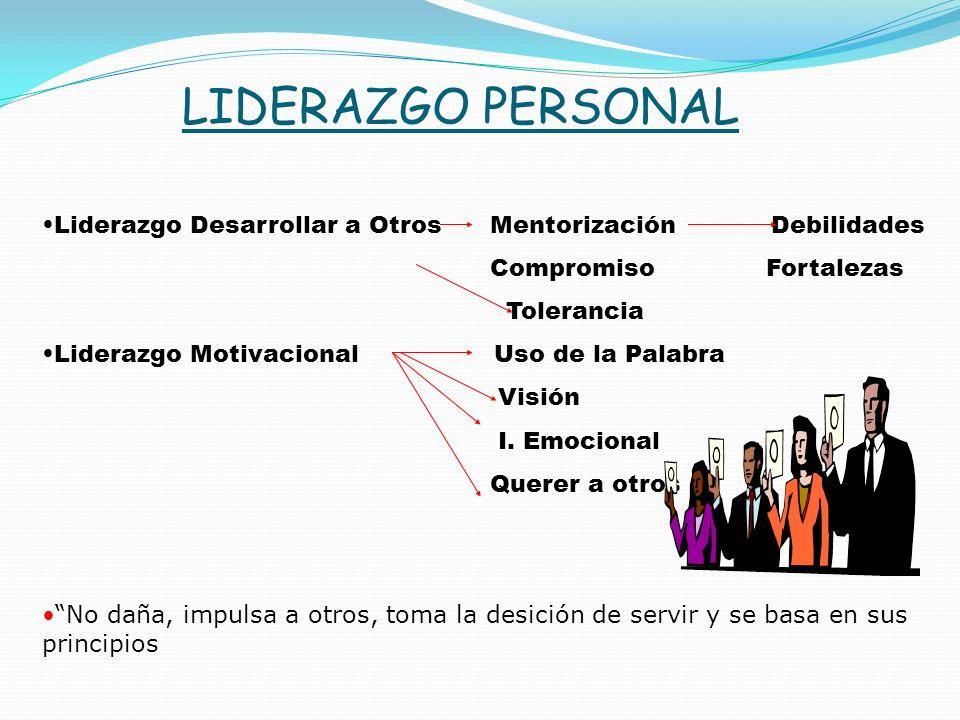 LIDERAZGO PERSONAL Liderazgo Desarrollar a Otros Mentorización Debilidades. Compromiso Fortalezas.