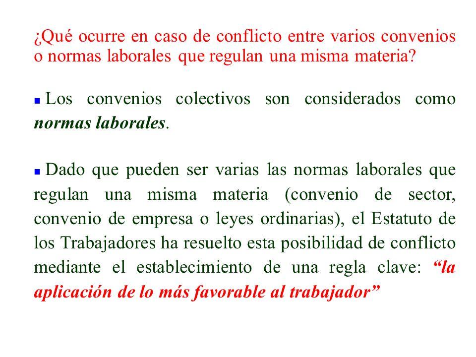 ¿Qué ocurre en caso de conflicto entre varios convenios o normas laborales que regulan una misma materia
