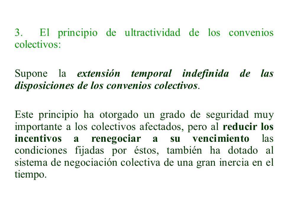 3. El principio de ultractividad de los convenios colectivos: