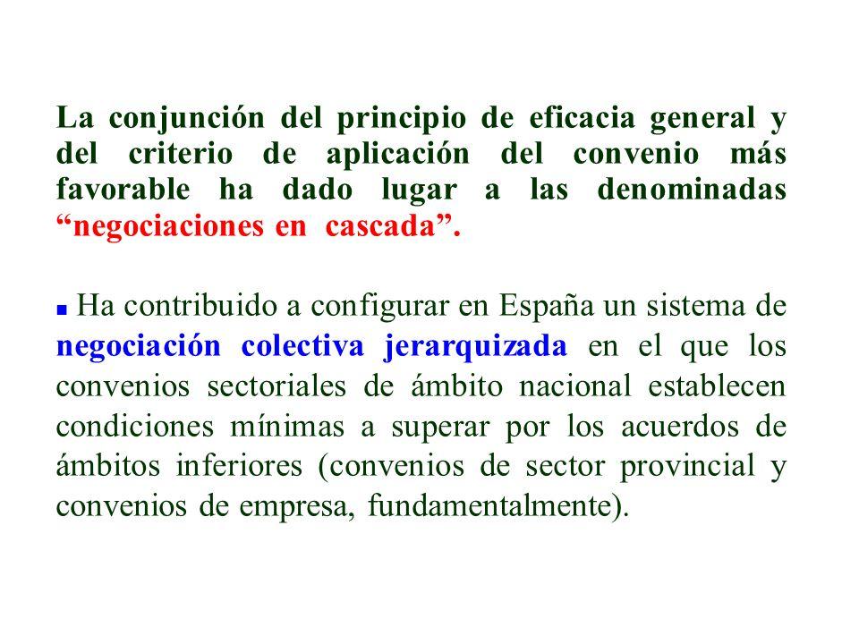 La conjunción del principio de eficacia general y del criterio de aplicación del convenio más favorable ha dado lugar a las denominadas negociaciones en cascada .