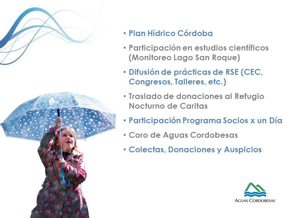 Plan Hídrico Córdoba Participación en estudios científicos (Monitoreo Lago San Roque) Difusión de prácticas de RSE (CEC, Congresos, Talleres, etc.)