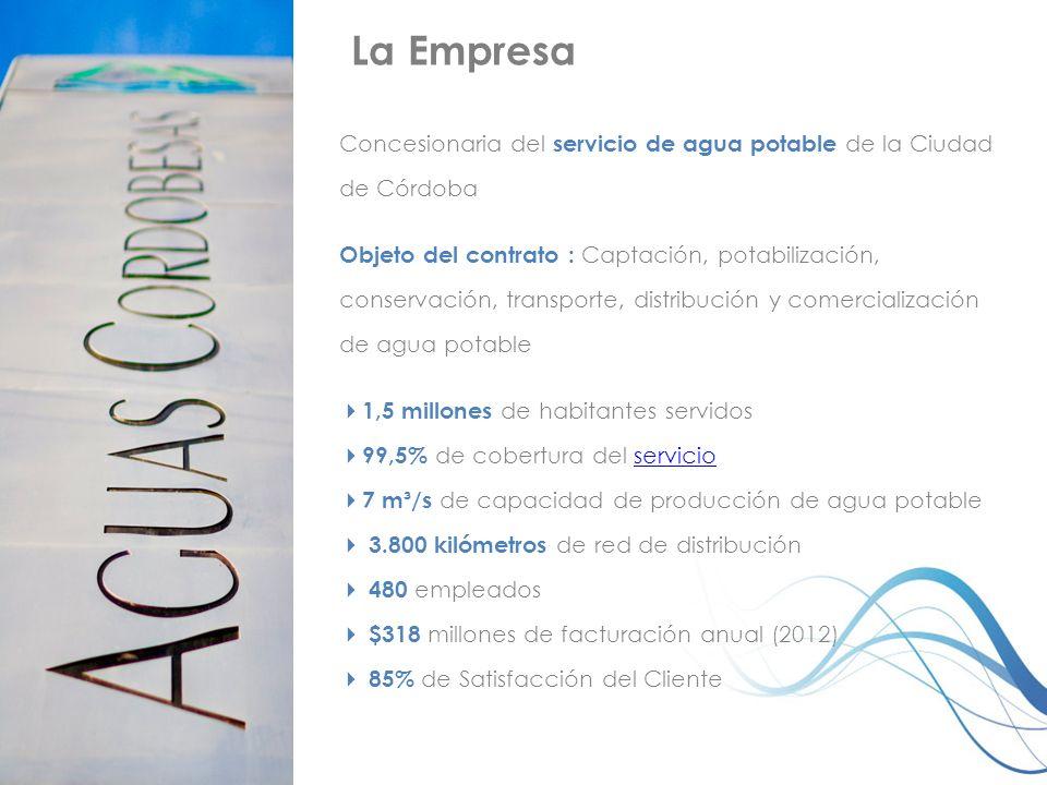La Empresa Concesionaria del servicio de agua potable de la Ciudad de Córdoba.