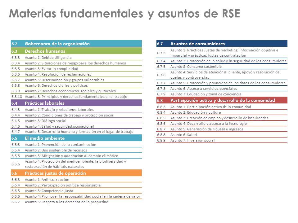 Materias fundamentales y asuntos de RSE
