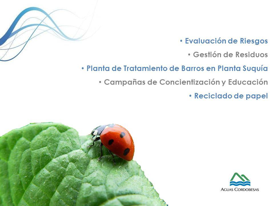 Evaluación de Riesgos Gestión de Residuos. Planta de Tratamiento de Barros en Planta Suquía. Campañas de Concientización y Educación.