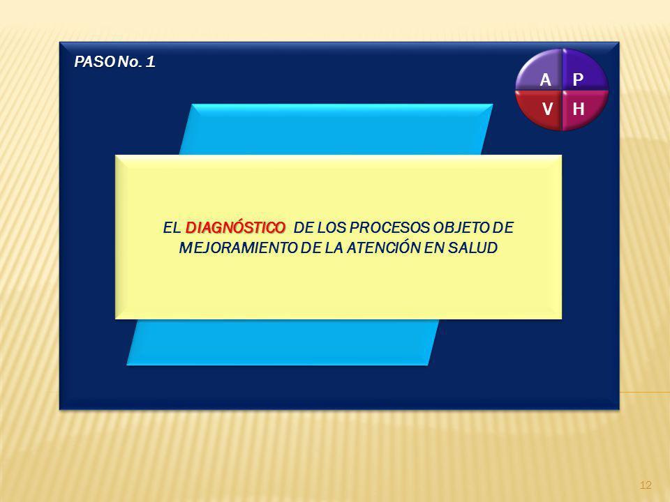 PASO No. 1P. H. V. A. EL DIAGNÓSTICO DE LOS PROCESOS OBJETO DE MEJORAMIENTO DE LA ATENCIÓN EN SALUD.