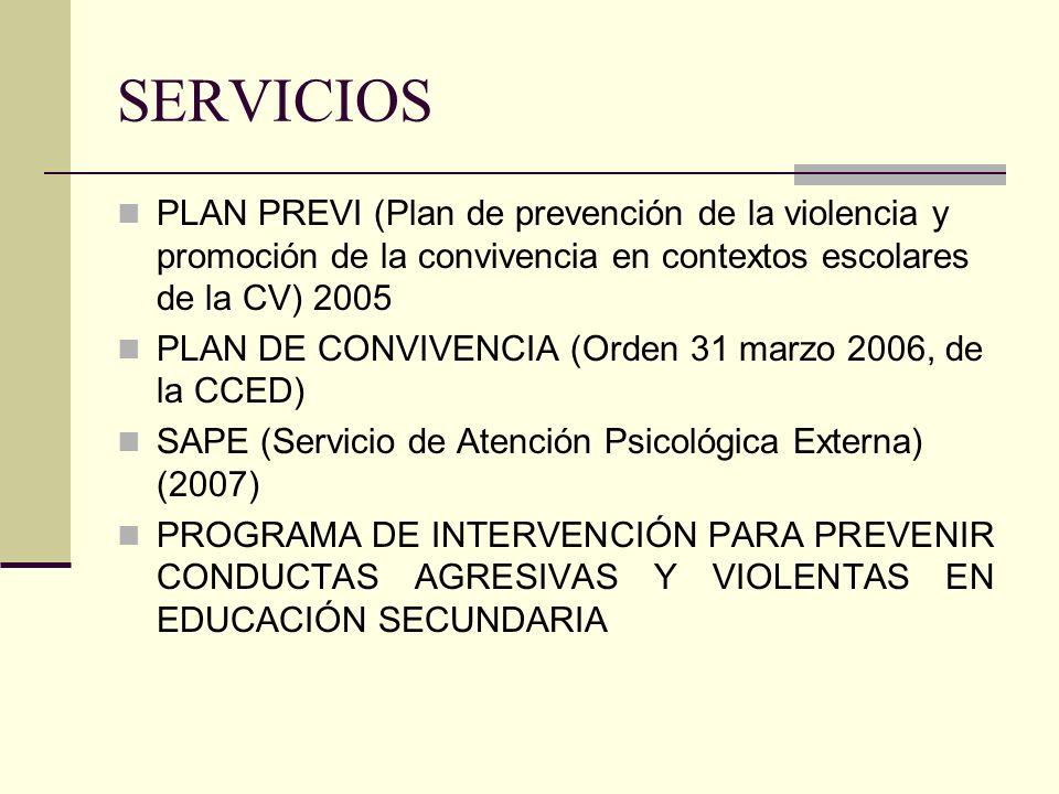 SERVICIOS PLAN PREVI (Plan de prevención de la violencia y promoción de la convivencia en contextos escolares de la CV) 2005.