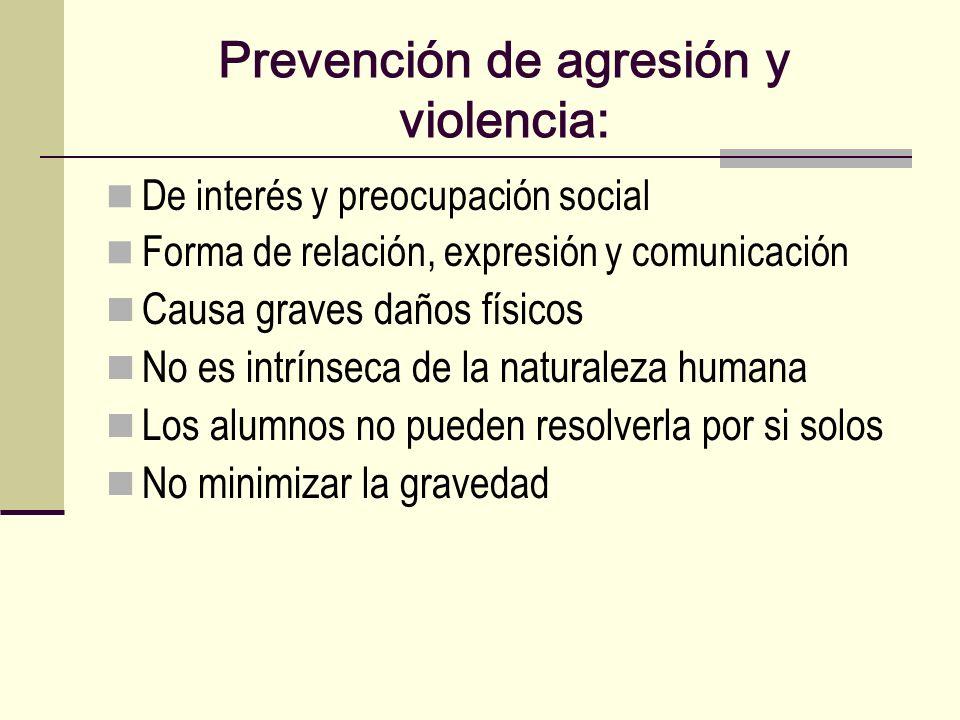 Prevención de agresión y violencia: