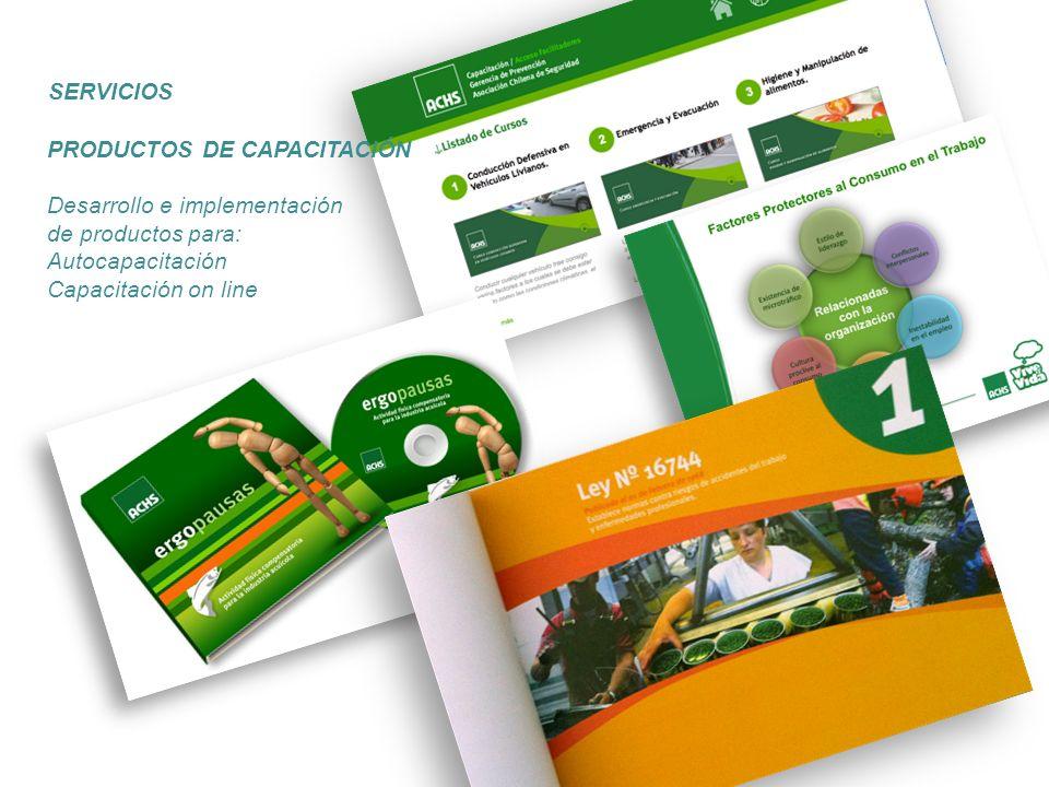 SERVICIOS PRODUCTOS DE CAPACITACIÓN. Desarrollo e implementación. de productos para: Autocapacitación.