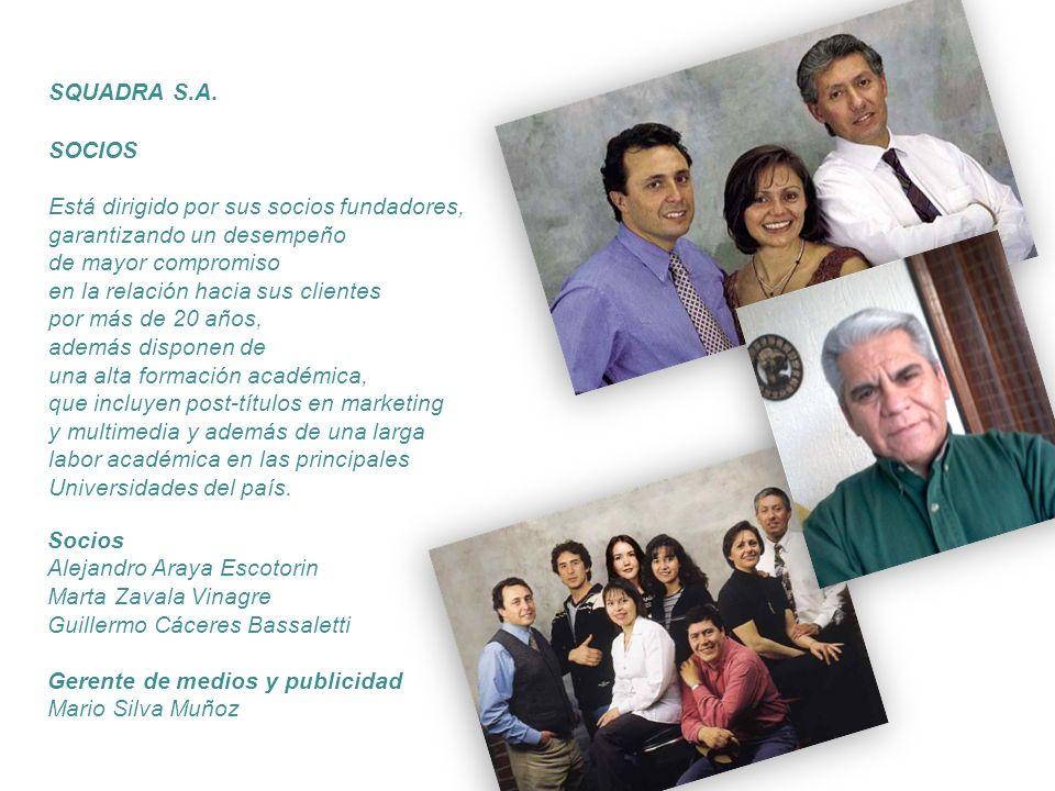 SQUADRA S.A. SOCIOS. Está dirigido por sus socios fundadores, garantizando un desempeño. de mayor compromiso.