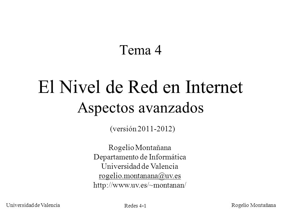 El Nivel de Red en Internet. Aspectos avanzados