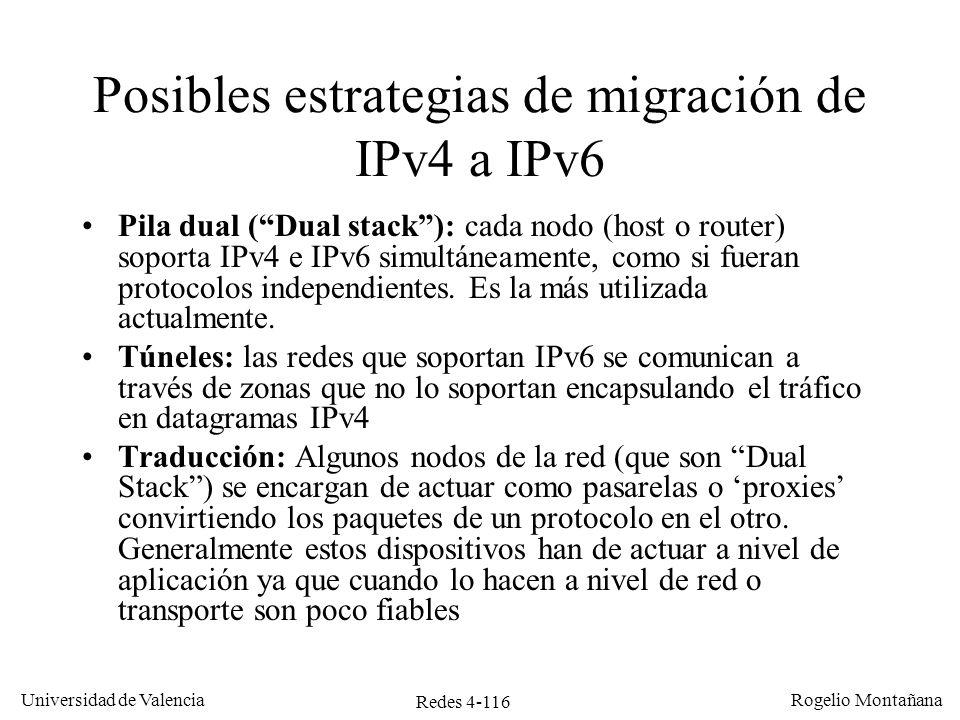 Posibles estrategias de migración de IPv4 a IPv6