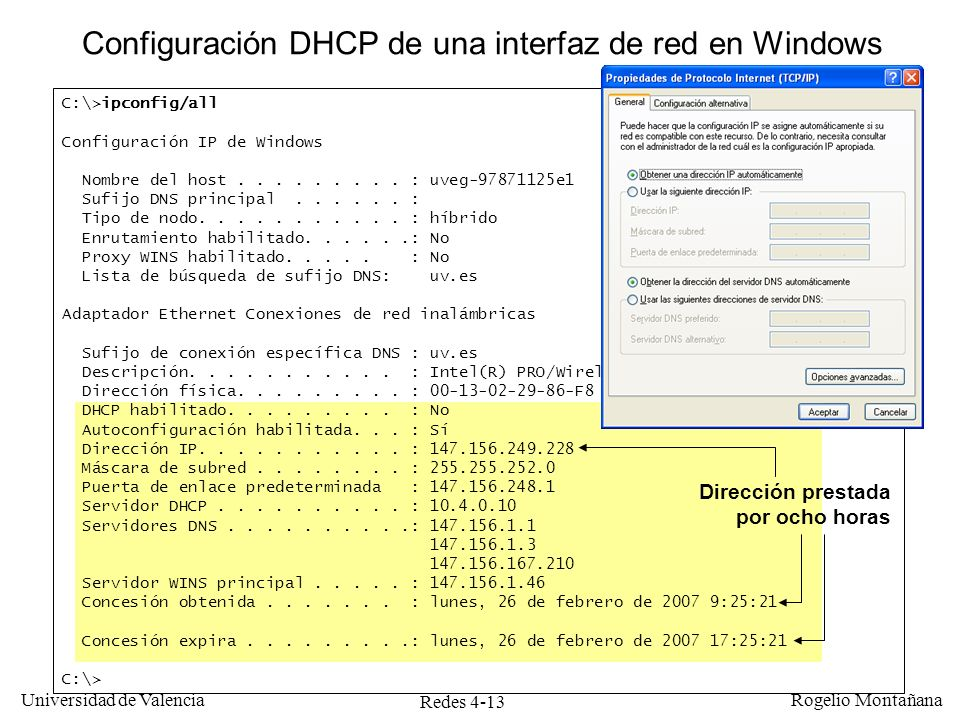 Configuración DHCP de una interfaz de red en Windows