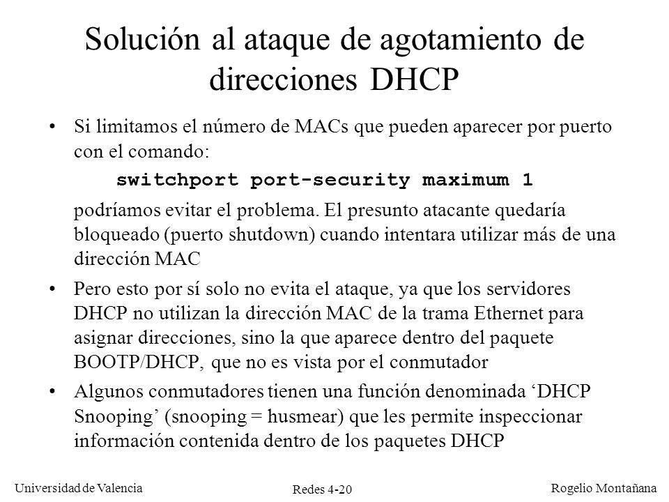 Solución al ataque de agotamiento de direcciones DHCP