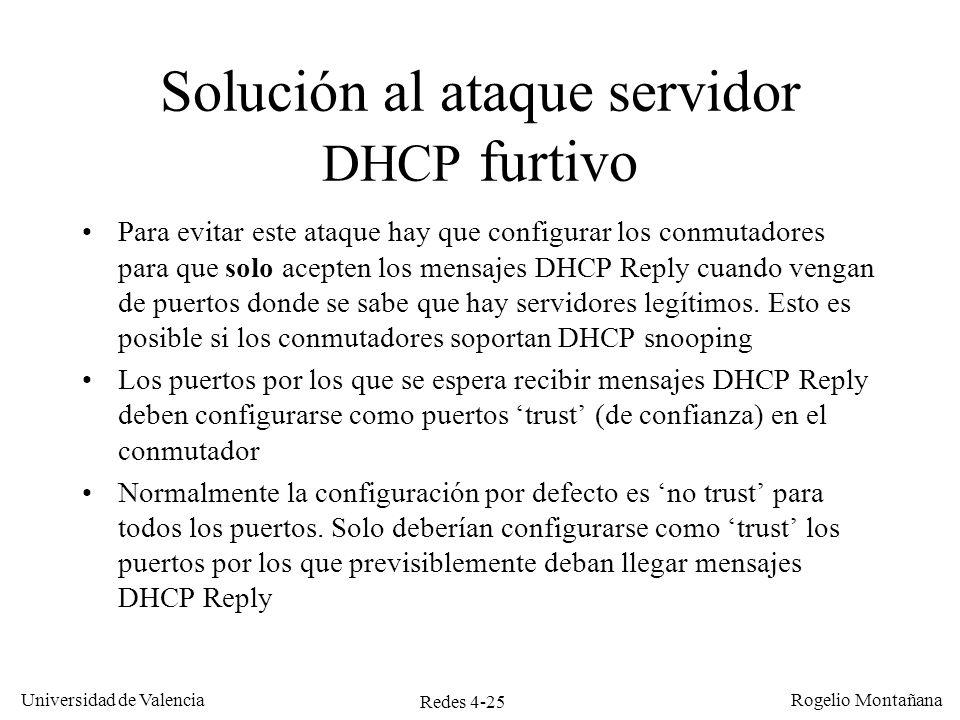 Solución al ataque servidor DHCP furtivo