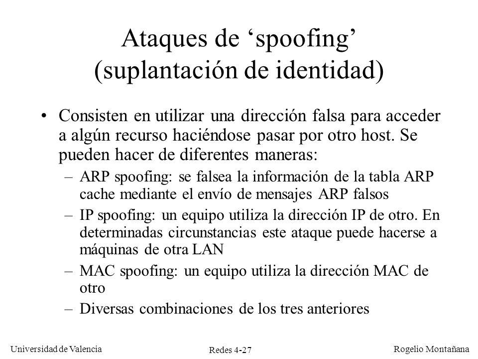 Ataques de 'spoofing' (suplantación de identidad)