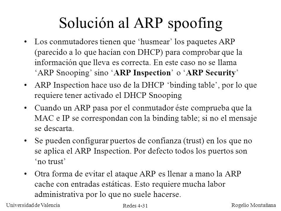 Solución al ARP spoofing