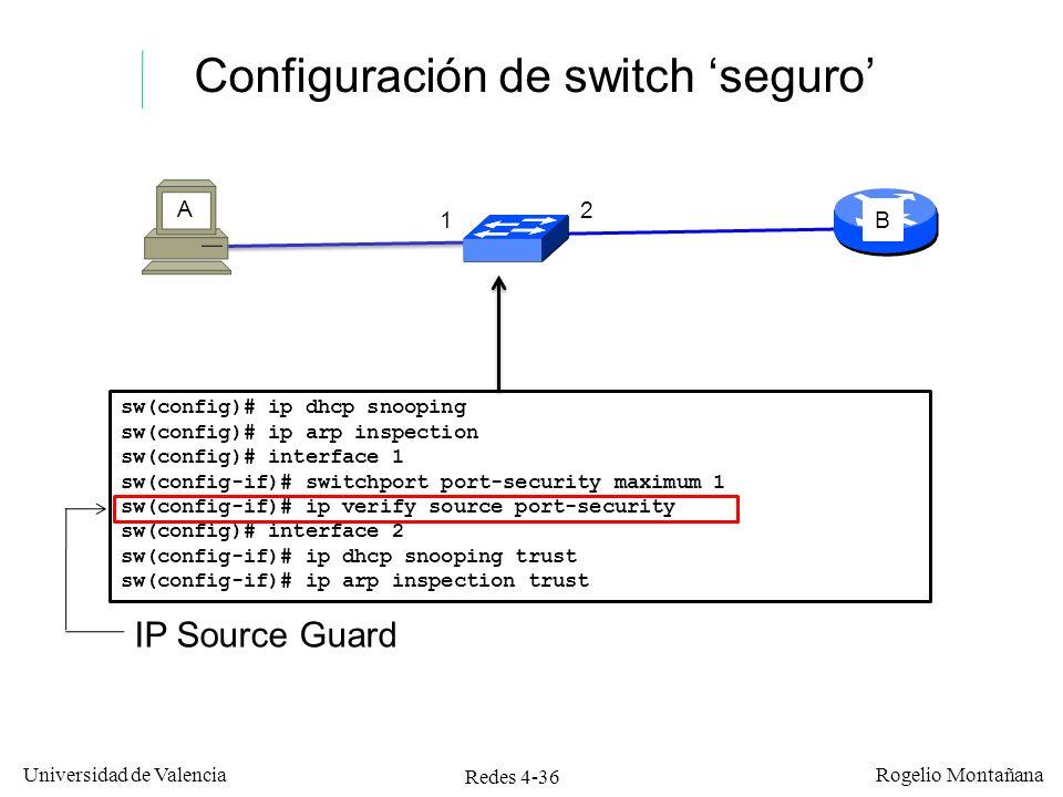 Configuración de switch 'seguro'
