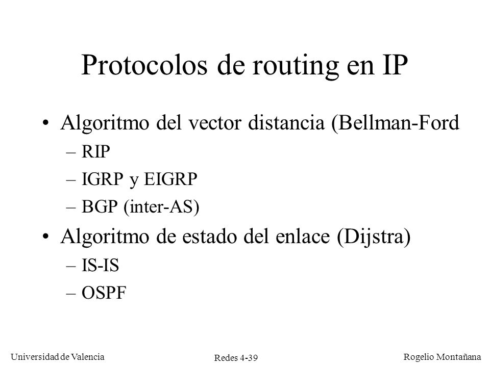 Protocolos de routing en IP
