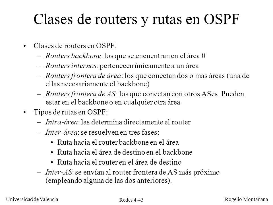Clases de routers y rutas en OSPF