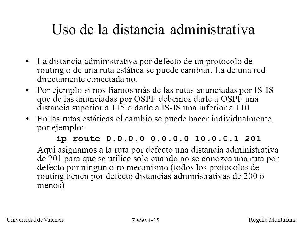 Uso de la distancia administrativa
