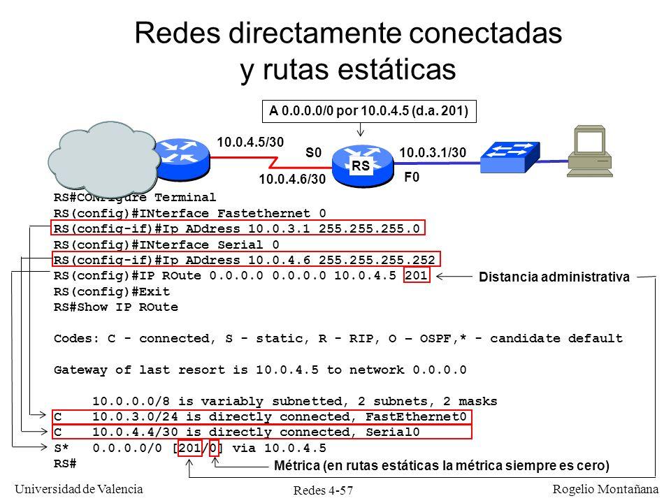 Redes directamente conectadas y rutas estáticas