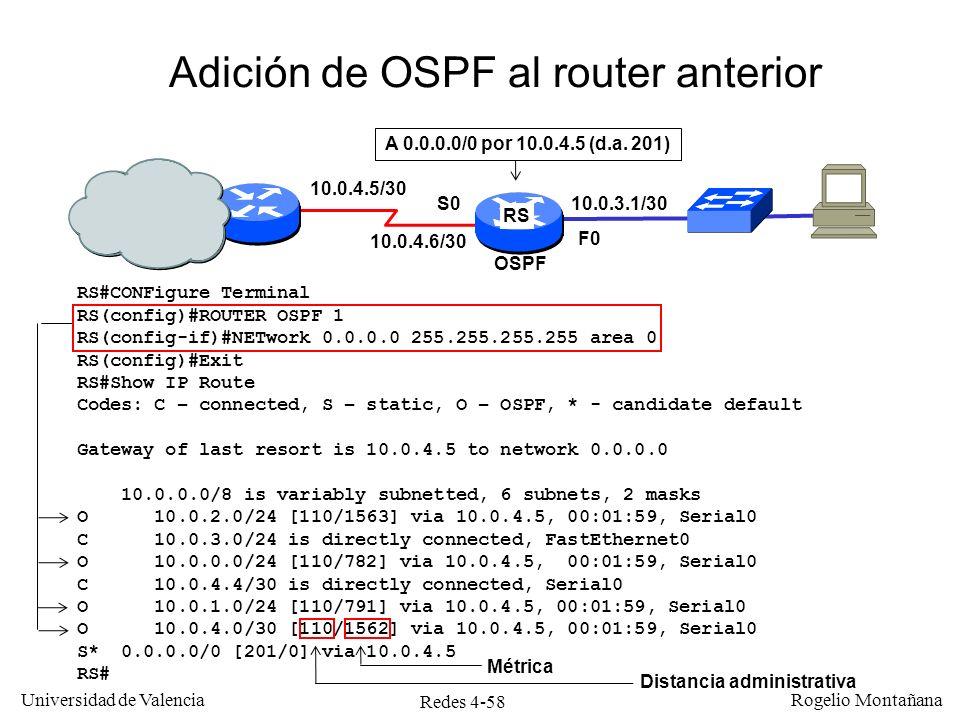 Adición de OSPF al router anterior